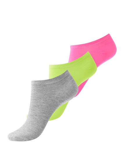 3er-Pack neonfarbene Sneakersocken