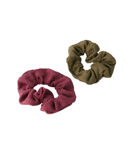2-pack of corduroy scrunchies