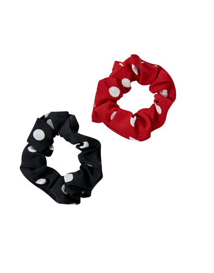 Pack of 2 polka dot scrunchies