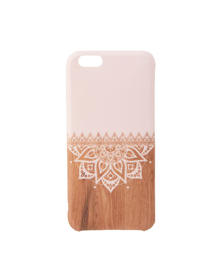 Wood-effect mandala print smartphone case