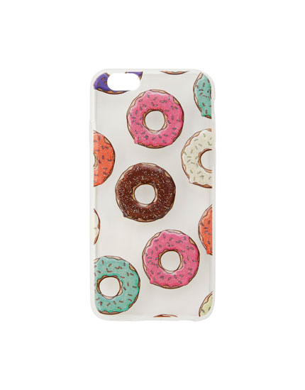 Transparent smartphone case with doughnut design