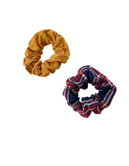 Scrunchies, effen en tartanruit, 2-pack