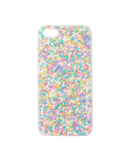 Transparent smartphone case with confetti