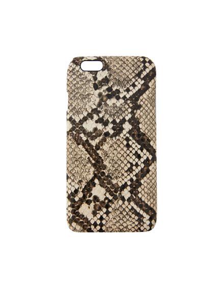 Smartphonehoesje met bruin slangenmotief