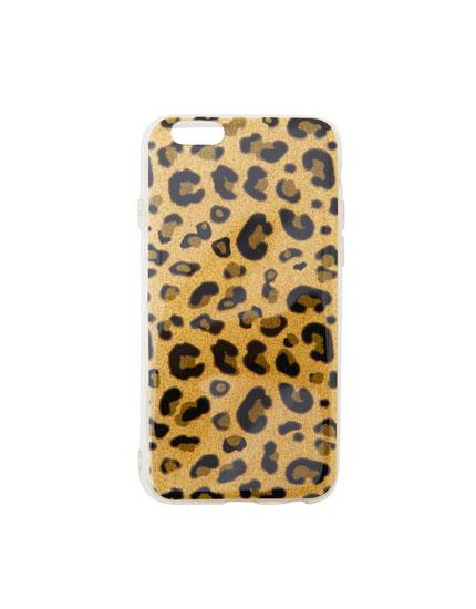 Carcasa smartphone leopardo glitter