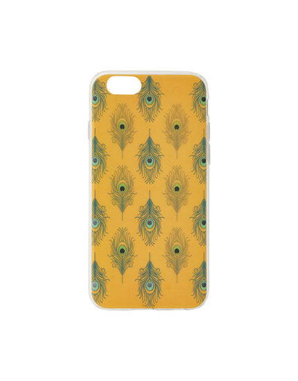 Mustard yellow feather print smartphone case