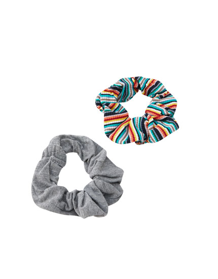 Pack of 2 neon striped scrunchies