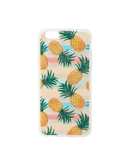 Transparent pineapple print smartphone case