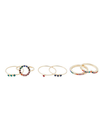 6-pack of coloured rhinestone rings