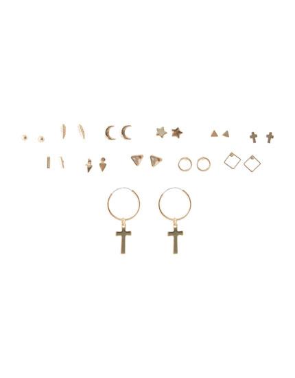 Σετ με 12 σκουλαρίκια με μοτίβα