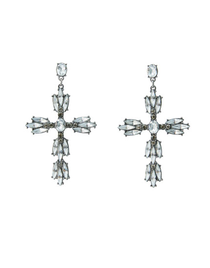 Shiny cross earrings
