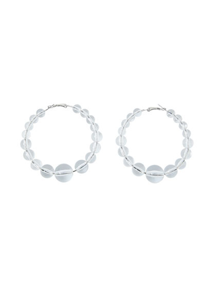 Hoop earrings with transparent beads