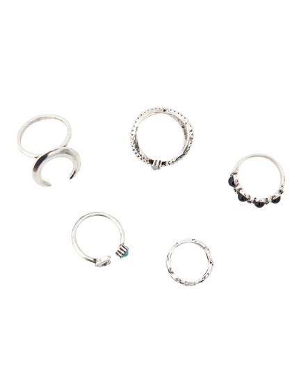 5-pack of crescent moon rings