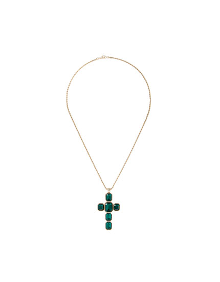 Rhinestone cross necklace