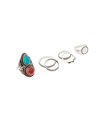 Pack of 6 turquoise signet rings