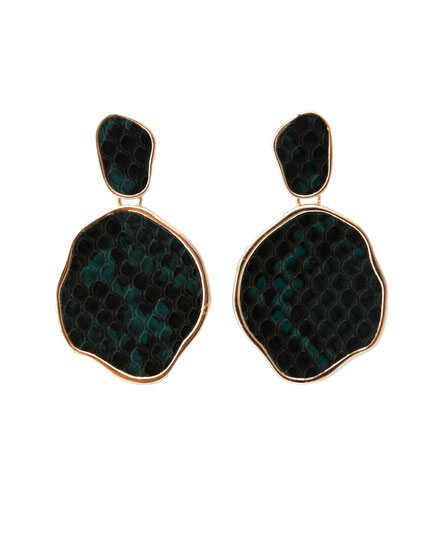 Snakeskin print stone earrings