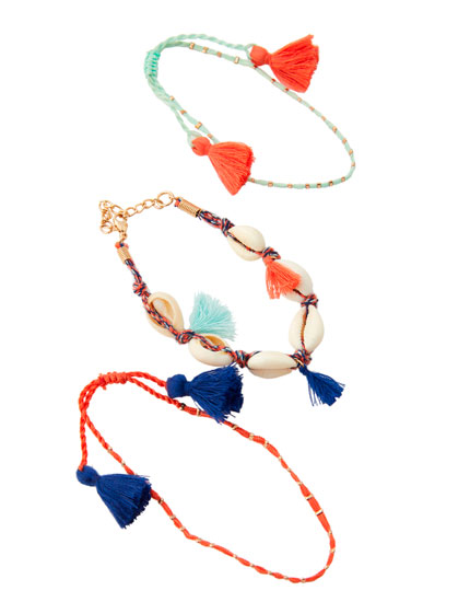 3-Pack of shell anklets