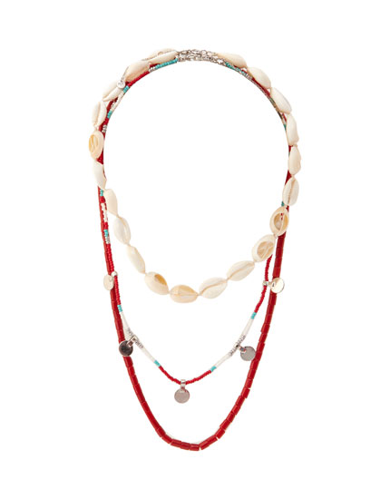 Pack of 3 necklaces with shells and coral