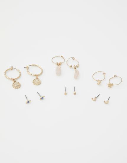 6-pack of eye and star earrings