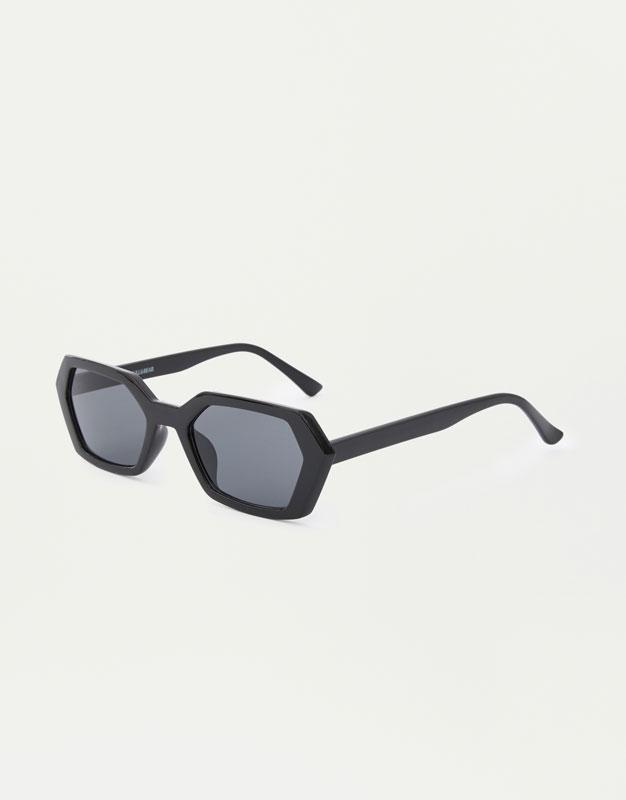 Czarne Geometryczne Okulary Przeciwsłoneczne by Pull & Bear