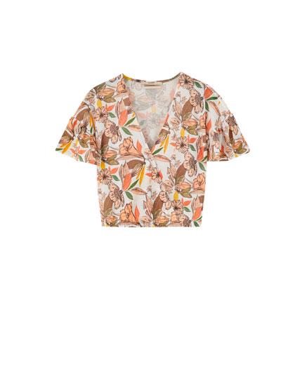Camisa flores cruzada