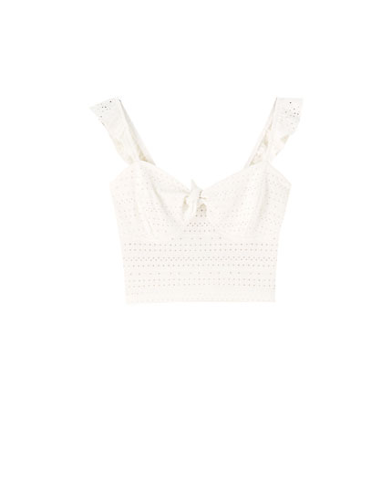 White Swiss-embroidered top