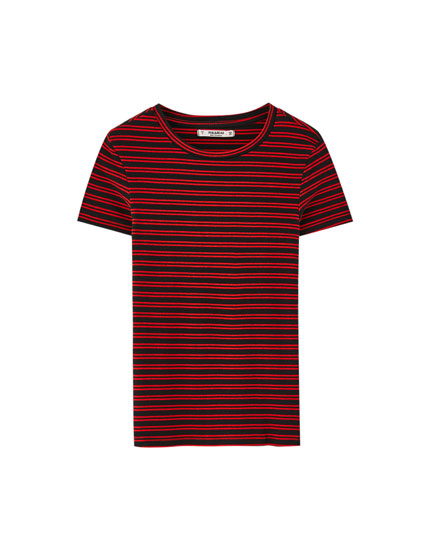 Basic ribbed and striped T-shirt