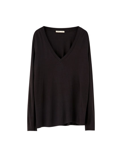 Loose-fitting long sleeve T-shirt