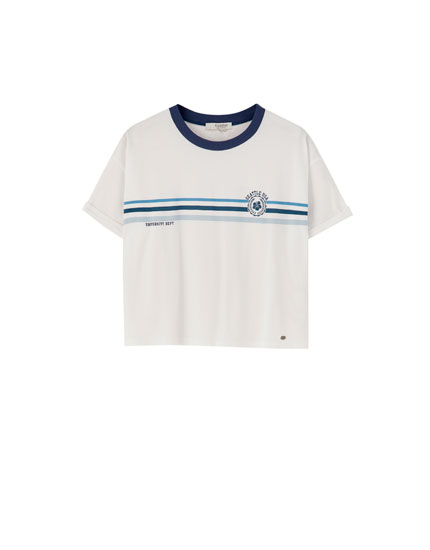 T-shirt with stripes and graphic