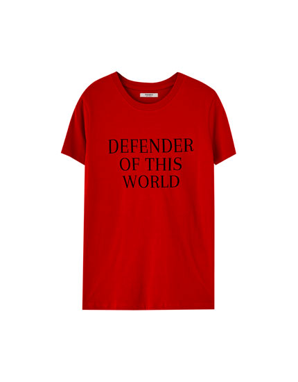 T-shirt with short sleeves and slogan
