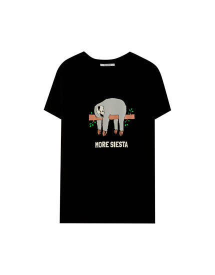 T-shirt motif animal poitrine
