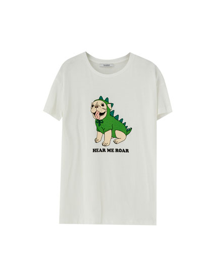 T-shirt with animal drawing on chest