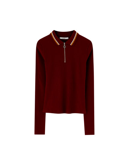 Long sleeve polo shirt with zip