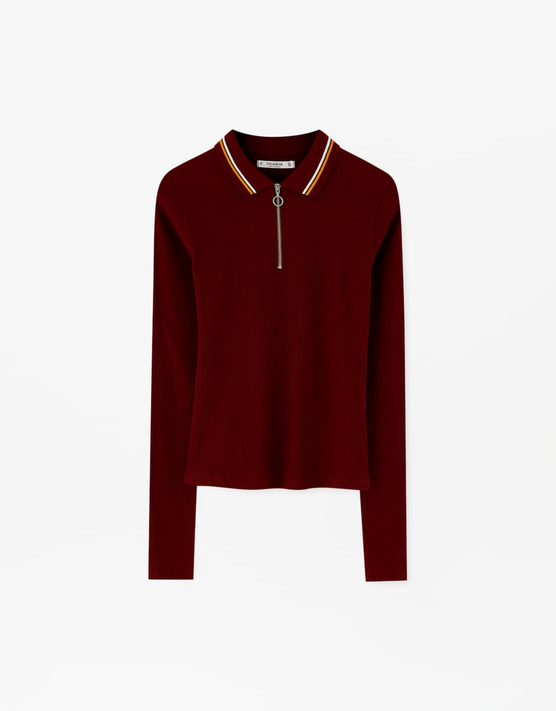 Μακρυμάνικη μπλούζα πόλο με φερμουάρ - PULL BEAR f8f3e033e88