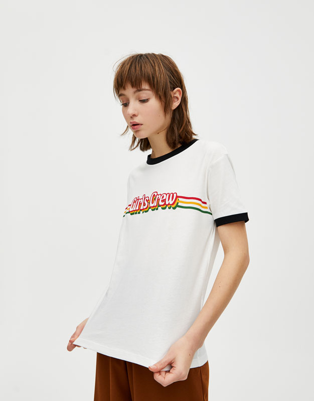 Playera Texto Color Rib by Pull & Bear