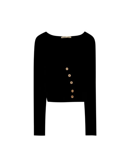 Long sleeve T-shirt with buttons