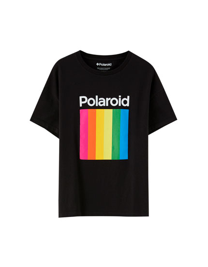 Polaroid T-shirt with multicoloured logo