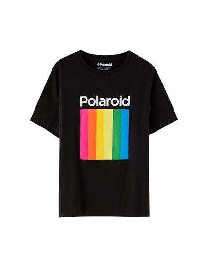 Polaroid T-shirt with multicoloured logo