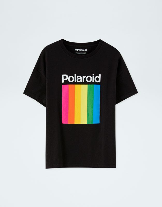 ae75e598e Polaroid T-shirt with multicoloured logo - PULL&BEAR