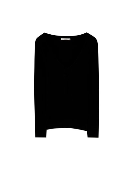 Ribbed T-shirt with gathered chest detail