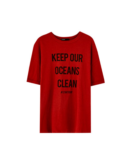 Short sleeve Join Life slogan T-shirt