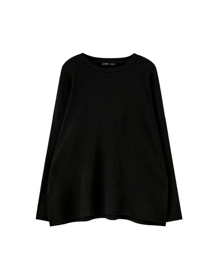 Long sleeve crepe T-shirt