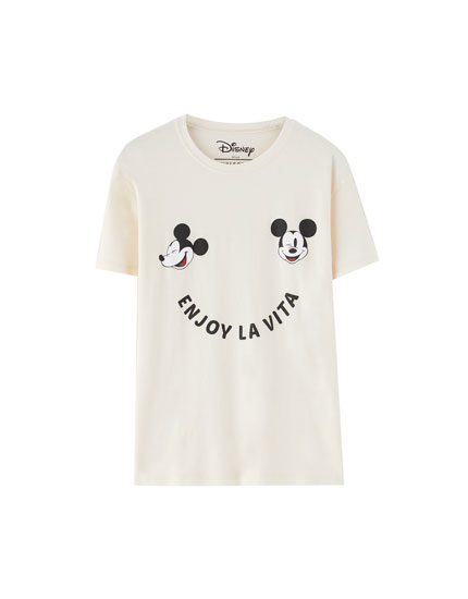Mickey Mouse T-shirt with slogan