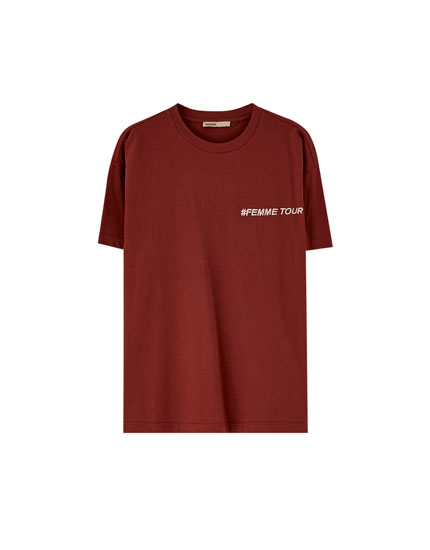 T-shirt with chest and back slogan