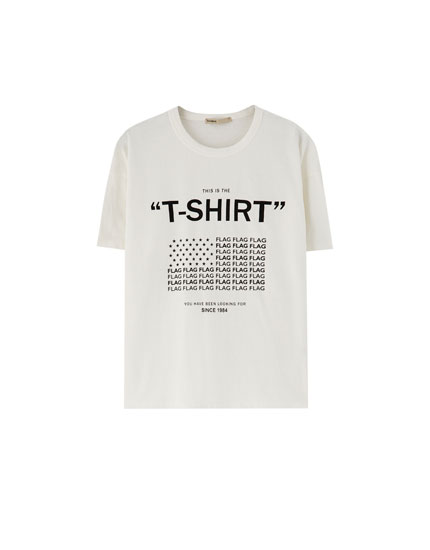 T-shirt with graphic slogan flag