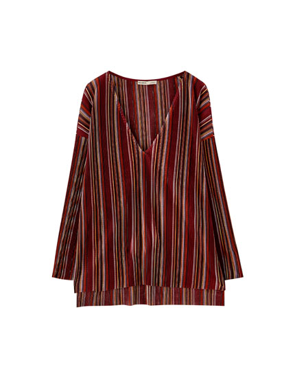 Pleated multicoloured stripe T-shirt
