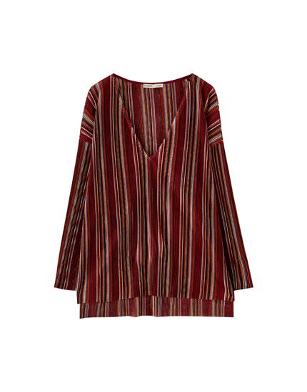 Pleated multicoloured stripe T-shirt