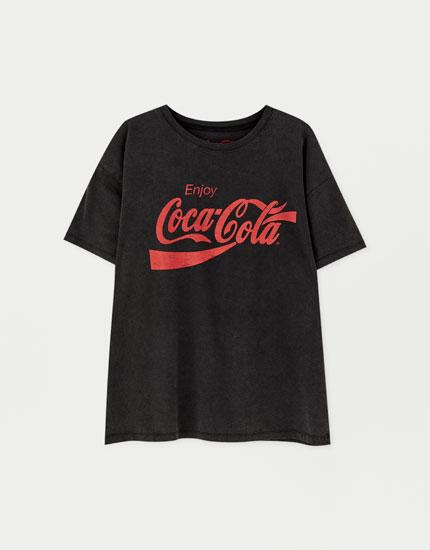Tricou negru prespălat Coca-Cola