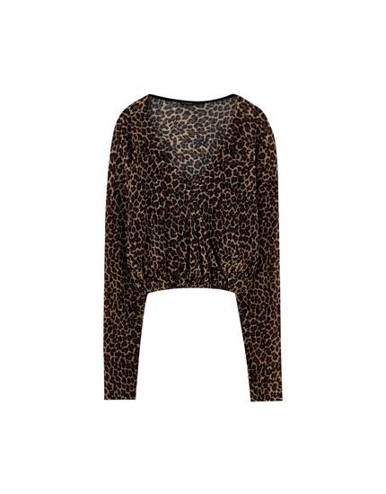 T-shirt med leopardprint og krydset detalje