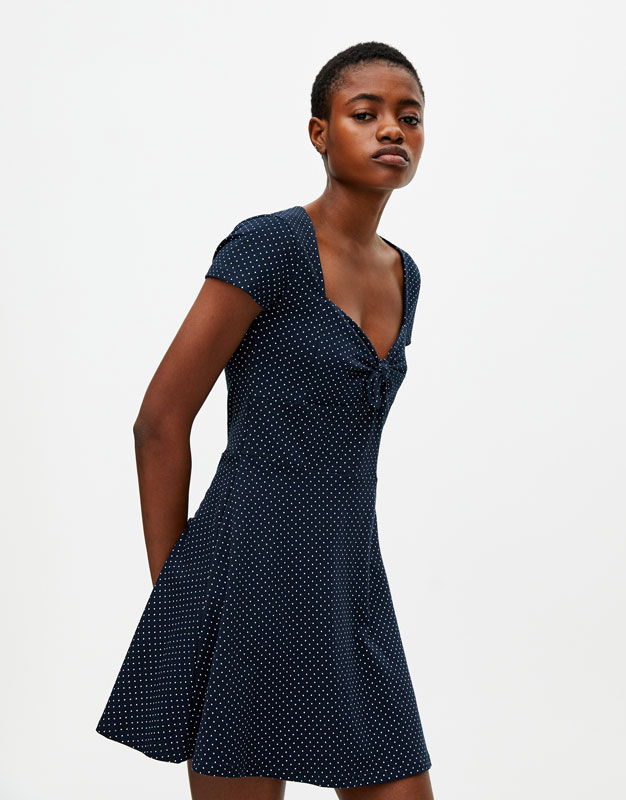 Vestido Escote Lazo by Pull & Bear